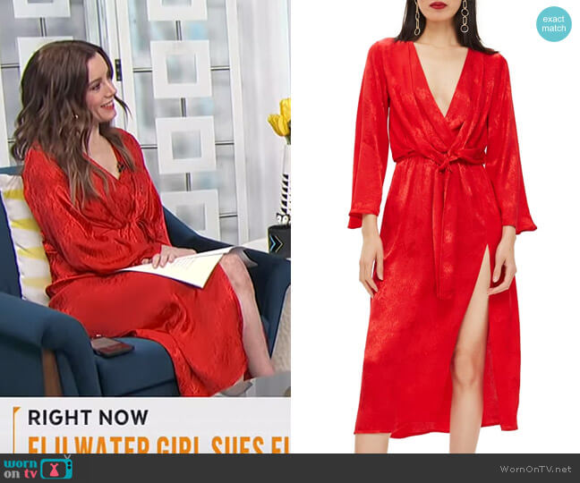 Snake Effect Knot Midi Dress by Topshop worn by Melanie Bromley (Melanie Bromley) on E! News