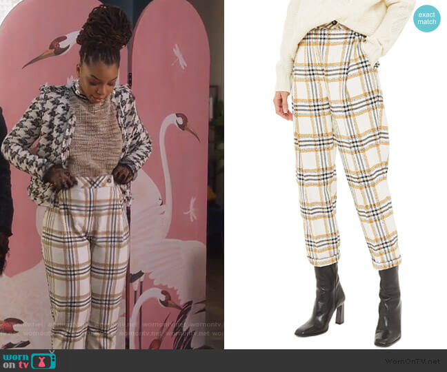 Three Button Tapered Trousers by Topshop worn by Jazlyn Forster (Chloe Bailey) on Grown-ish