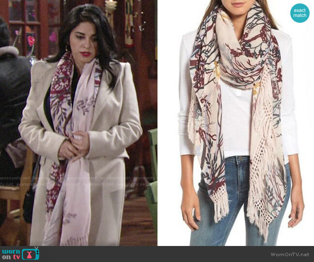 Treasure & Bond Foliage Forest Fringe Scarf  worn by Mia Rosales (Noemi Gonzalez) on The Young & the Restless