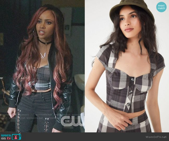 UO Tasha Button-Down Bustier Top worn by Toni Topaz (Vanessa Morgan) on Riverdale