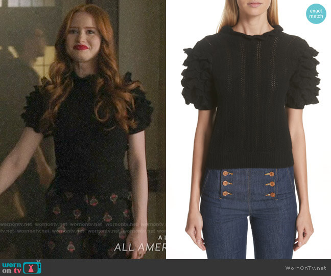 Ulla Johnson Amie Ruffle Sleeve Cashmere Sweater worn by Cheryl Blossom (Madelaine Petsch) on Riverdale