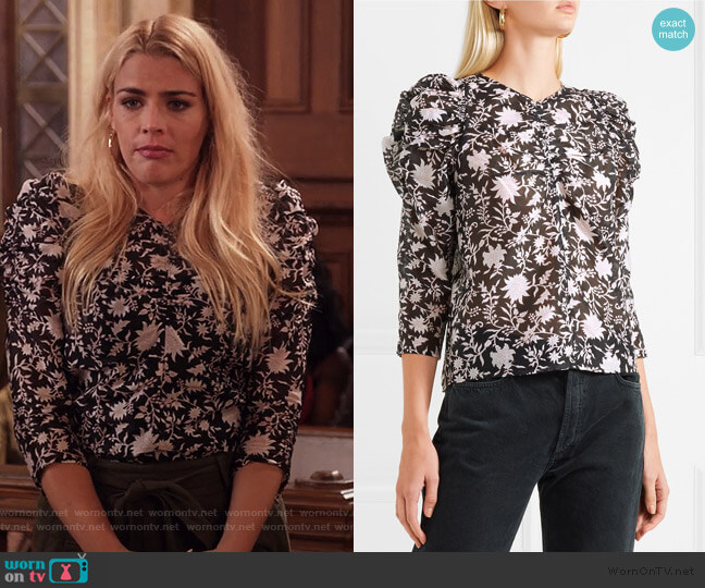 Posey ruched floral-print cotton and silk-blend organza blouse by Ulla Johnson worn by Busy Phillips on Unbreakable Kimmy Schmidt