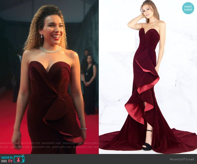 Style #66517M by Mac Duggal worn by Allison Hargreeves (Emmy Raver-Lampman) on The Umbrella Academy