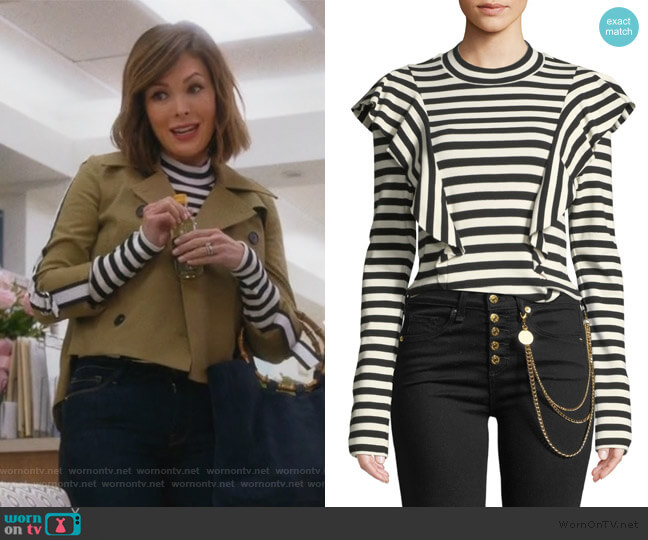 Dawson Striped Ruffle Long-Sleeve Tee by Veronica Beard worn by Camille (Lindsay Price) on Splitting Up Together