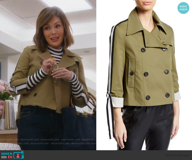 Mert Cropped Jacket with Belted Sleeves by Veronica Beard worn by Camille (Lindsay Price) on Splitting Up Together