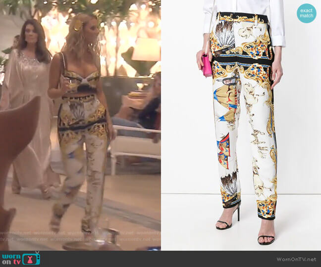 Native American Trousers by Versace worn by Dorit Kemsley  on The Real Housewives of Beverly Hills