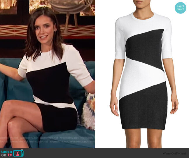 Colorblock Sweater Dress by Victor Glemaud worn by Nina Dobrev on Busy Tonight worn by Clem (Nina Dobrev) on Busy Tonight