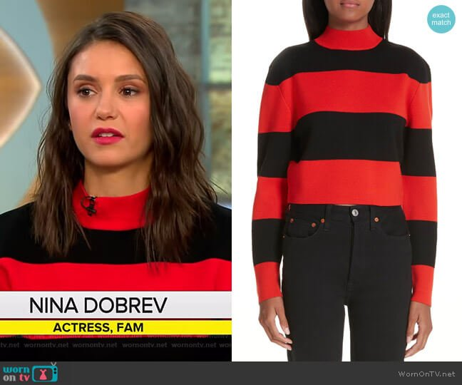 Stripe Wool Sweater by Victor Glemaud worn by Nina Dobrev on CBS This Morning