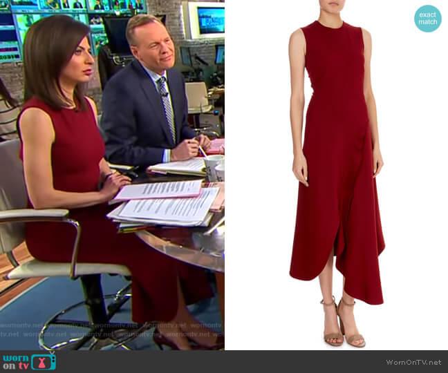 Asymmetric-Wave Hem Midi Dress by Victoria Beckham worn by Bianna Golodryga  on CBS This Morning