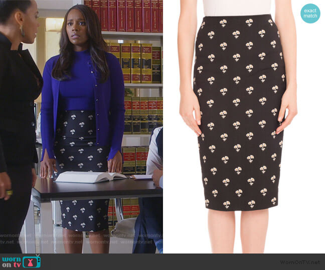 Floral-Print Pencil Skirt by Victoria Beckham worn by Michaela Pratt (Aja Naomi King) on HTGAWM