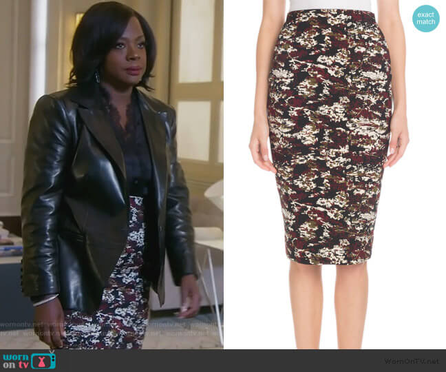 Printed Knee-Length Pencil Skirt by Victoria Beckham worn by Annalise Keating (Viola Davis) on HTGAWM