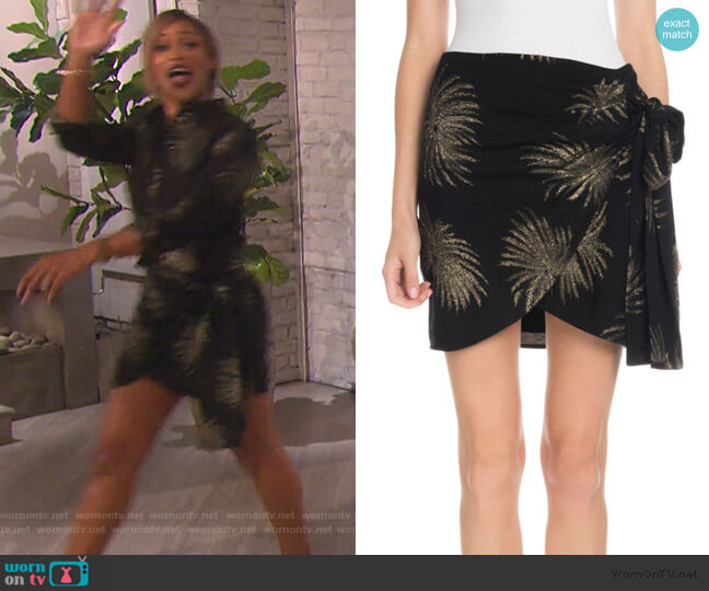 Side-Tie Metallic Fireworks-Jacquard Mini Skirt by Victoria Victoria Beckham worn by Eve  on The Talk