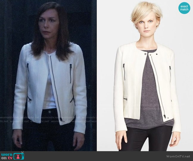 Vince Boucle Moto Jacket worn by Anna Devane (Finola Hughes) on General Hospital