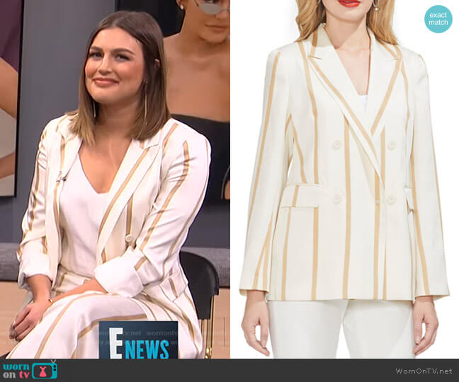 Dramatic Stripe Double Breasted Blazer by Vince Camuto worn by Carissa Loethen Culiner  on E! News