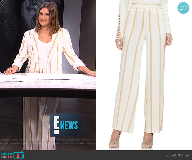 Dramatic Stripe Pull-On Pants by Vince Camuto worn by Carissa Loethen Culiner  on E! News