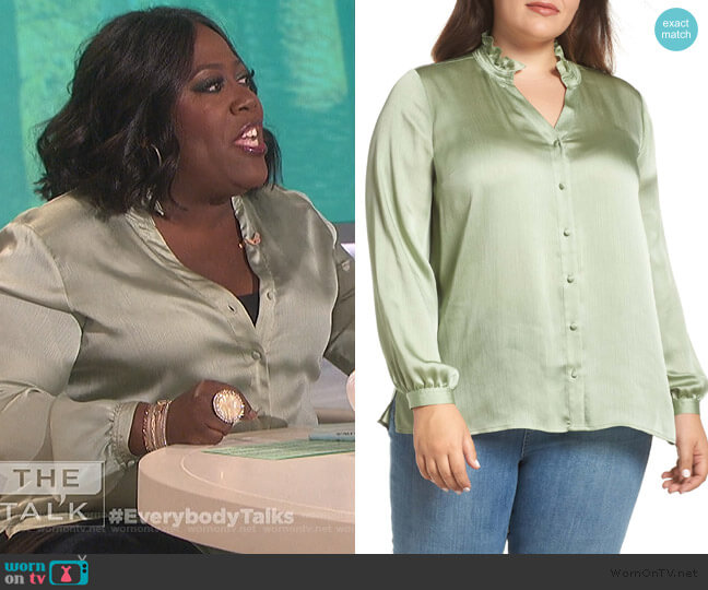 Ruffle Neck Blouse by Vince Camuto worn by Sheryl Underwood  on The Talk