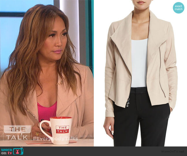 Leather Scuba Jacket by Vince worn by Carrie Inaba  on The Talk