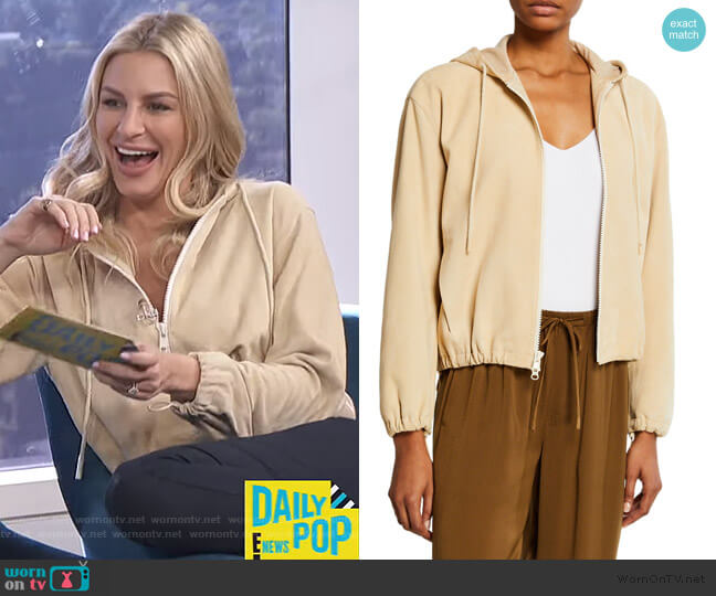 Zip-Front Suede Hoodie by Vince worn by Morgan Stewart  on E! News