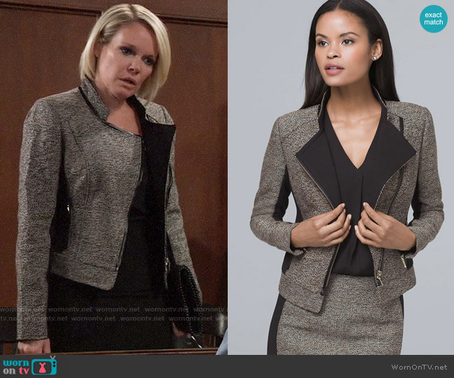 White House Black Market Faux Leather Trim Tweed Moto Jacket worn by Ava Jerome (Maura West) on General Hospital