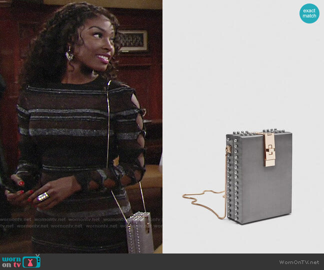 Zara Box Bag with Beads worn by Ana Hamilton (Loren Lott) on The Young & the Restless