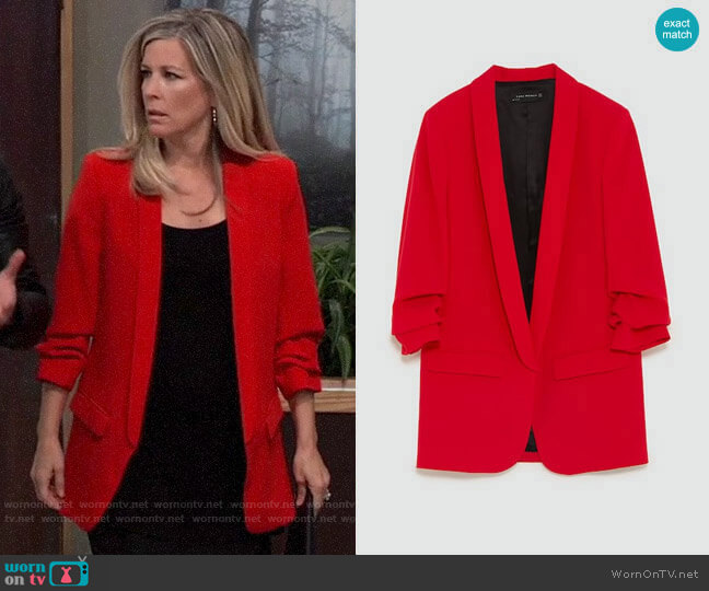 Zara Crepe Blazer worn by Carly Corinthos (Laura Wright) on General Hospital