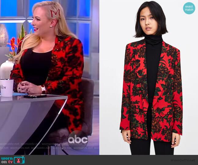 Flowy Printed Blazer by Zara worn by Meghan McCain  on The View