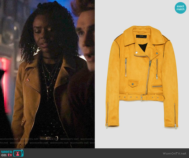 Zara Faux Suede Biker Jacket worn by Josie McCoy (Ashleigh Murray) on Riverdale