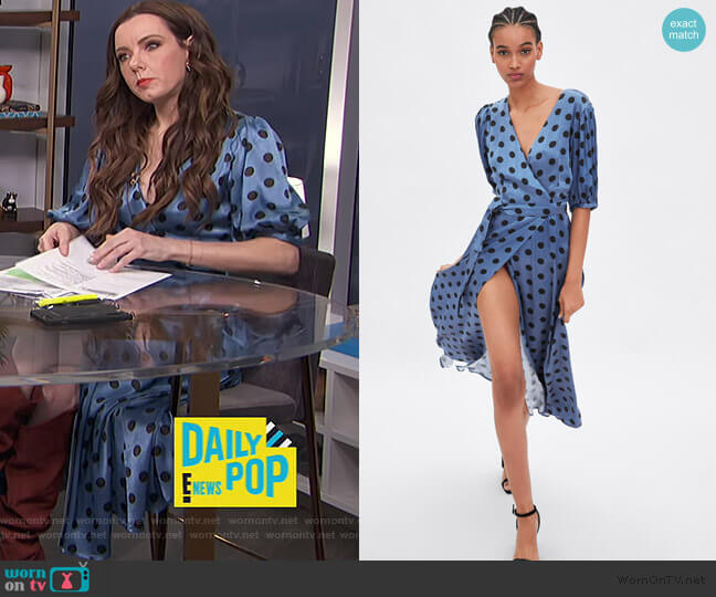 Polka Dot Wrap Dress by Zara worn by Melanie Bromley  on E! News