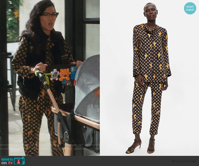 Printed Blouse and Pants with Tigers by Zara worn by Doris (Ali Wong) on American Housewife