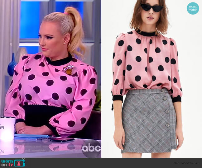 Satin Polka Dot Blouse by Zara worn by Meghan McCain  on The View