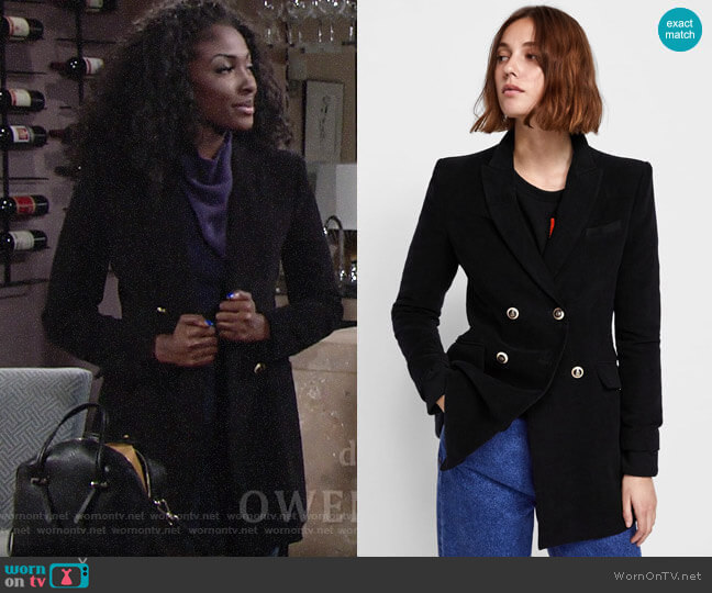 Zara Velvet Double Breasted Frock Coat worn by Ana Hamilton (Loren Lott) on The Young & the Restless