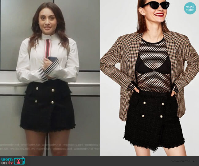 Black Tweed Mini Skort with Gold Buttons by Zara worn by Ana Torres (Francia Raisa) on Grown-ish