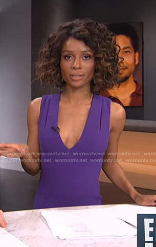 Zuri's purple cutout v-neck dress on E! News