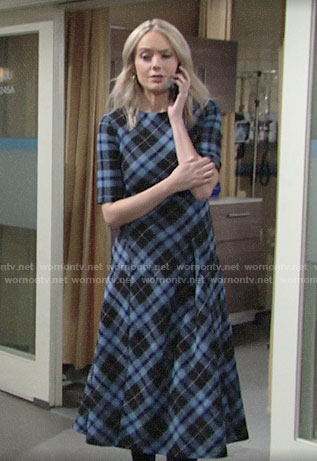Abby's blue plaid midi dress on The Young and the Restless