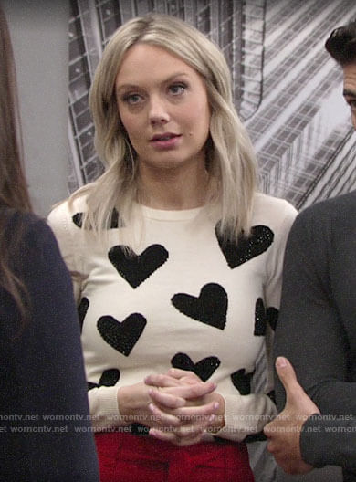 Abby's heart sweater on The Young and the Restless