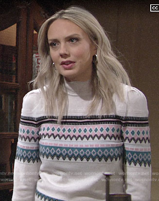 Abby's fair isle sweater on The Young and the Restless