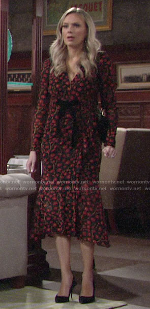 Abby's floral midi dress on The Young and the Restless