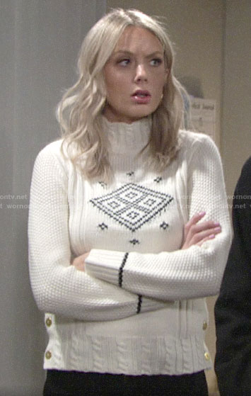 Abby's geometric print sweater on The Young and the Restless