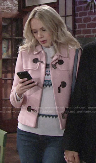 Abby's pink toggle coat on The Young and the Restless