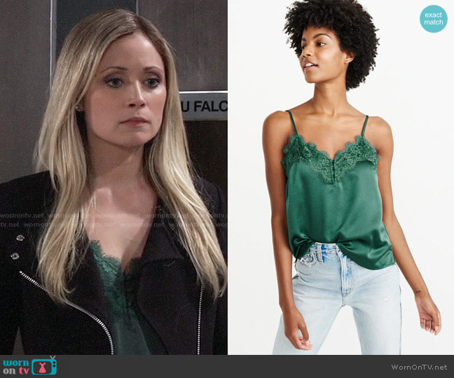 Abercrombie & Fitch Lace Trim Cami worn by Lulu Spencer Falconeri (Emme Rylan) on General Hospital