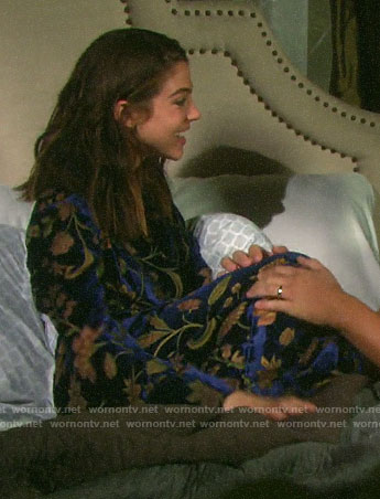 Abigail's floral velvet robe on General Hospital