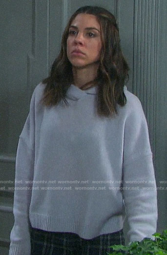 Abigail's lavender hooded sweater on Days of our Lives