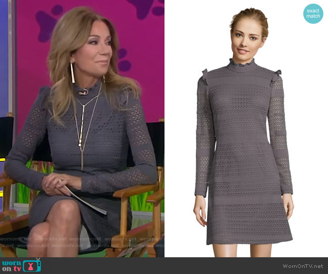 Cable Knit Lace A-Line Dress by Adrianna Papell worn by Kathie Lee Gifford  on Today
