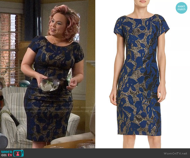 Adrianna Papell Metallic Jacquard Sheath Dress worn by Kristin Baxter (Amanda Fuller) on Last Man Standing