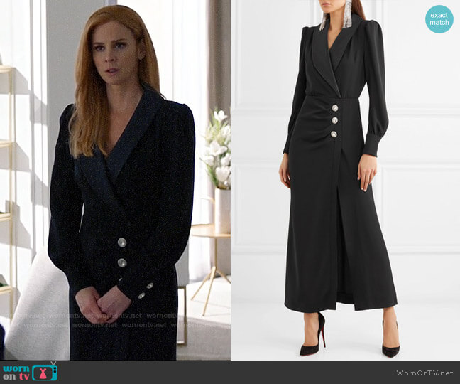 Alessandra Rich Hollywood crystal-embellished crepe and satin maxi dress worn by Donna Paulsen (Sarah Rafferty) on Suits