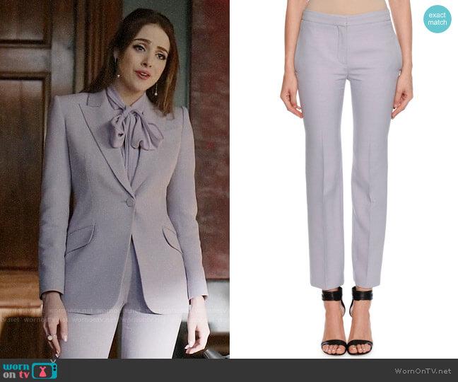 Alexander McQueen Wool-Silk Flat-Front Cigarette Pants worn by Fallon Carrington (Elizabeth Gillies) on Dynasty