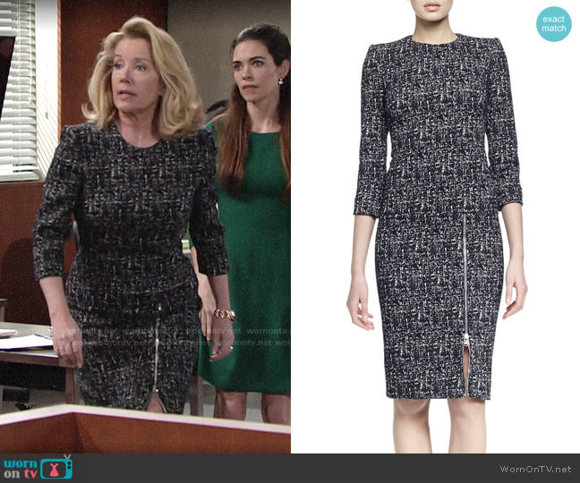 Alexander McQueen Zip-Hem Printed Sheath Dress worn by Nikki Reed Newman (Melody Thomas-Scott) on The Young & the Restless