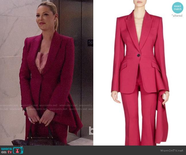 Alexander McQueen Drape-Detail One-Button Blazer worn by Samantha Wheeler (Katherine Heigl) on Suits