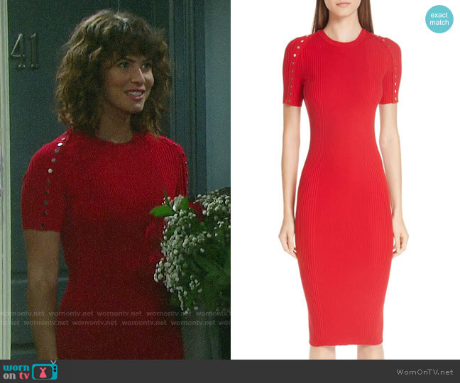 Alexander Wang Snap Sleeve Body-Con Midi Dress worn by Sarah Horton (Linsey Godfrey) on Days of our Lives