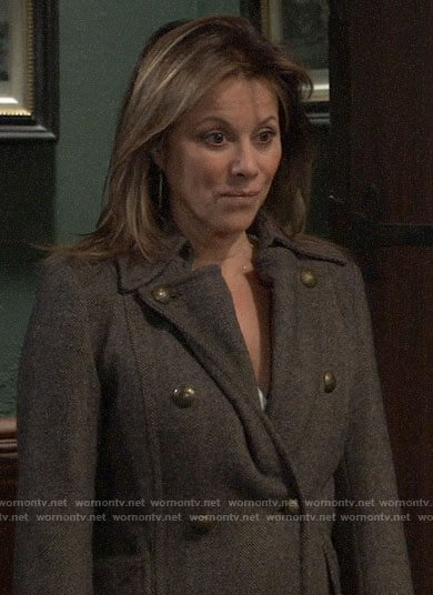 Alexis's long herringbone coat on General Hospital